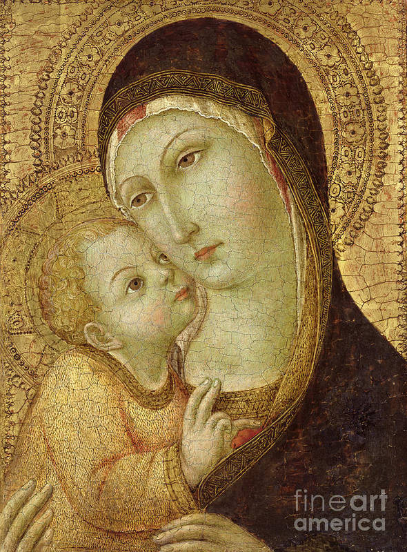 Madonna Poster featuring the painting Madonna And Child by Ansano di Pietro di Mencio