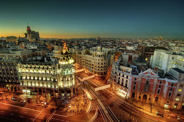 Horizontal Poster featuring the photograph Madrid Cityscape by Photo by cuellar