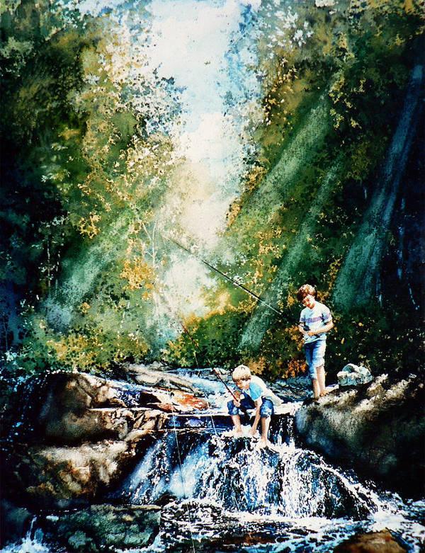Boys Fishing Creek Print Poster featuring the painting Making Memories by Hanne Lore Koehler