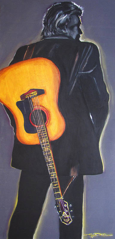Johnny Cash Poster featuring the painting Man In Black's Back by Eric Dee