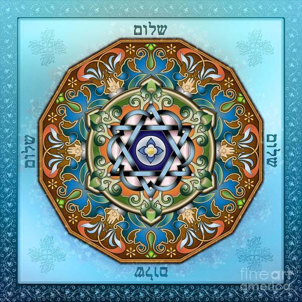 Mandala Poster featuring the digital art Mandala Shalom by Bedros Awak