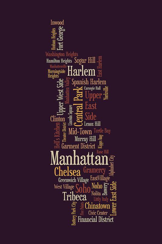 Manhattan Map Poster featuring the digital art Manhattan New York Typographic Map by Michael Tompsett