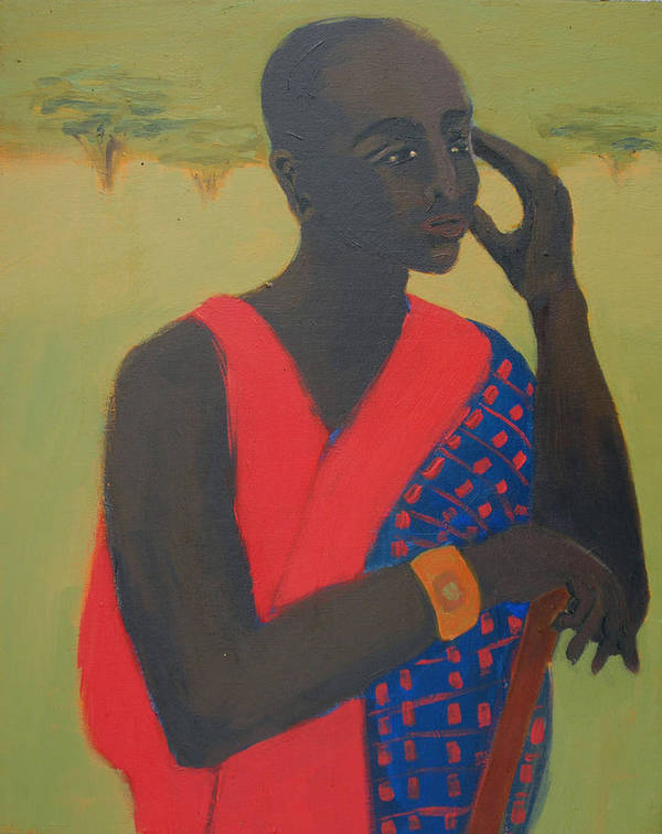 Africa Poster featuring the painting Masaii Warrior by Renee Kahn