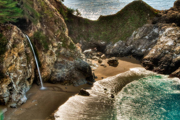 Beach Poster featuring the photograph Mcway Falls Hwy 1 California by Connie Cooper-Edwards