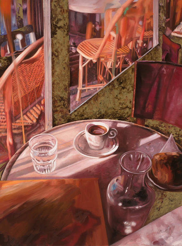 Caffe Poster featuring the painting Mentre Ti Aspetto by Guido Borelli