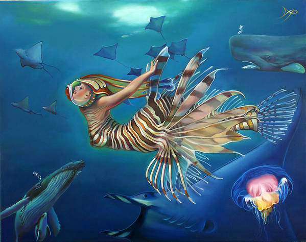 Mermaid Poster featuring the painting Mermalien Odyssey by Patrick Anthony Pierson