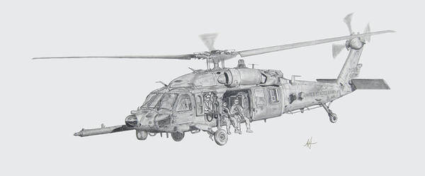 Mh-60 Poster featuring the drawing Mh60 With Gun by Nicholas Linehan