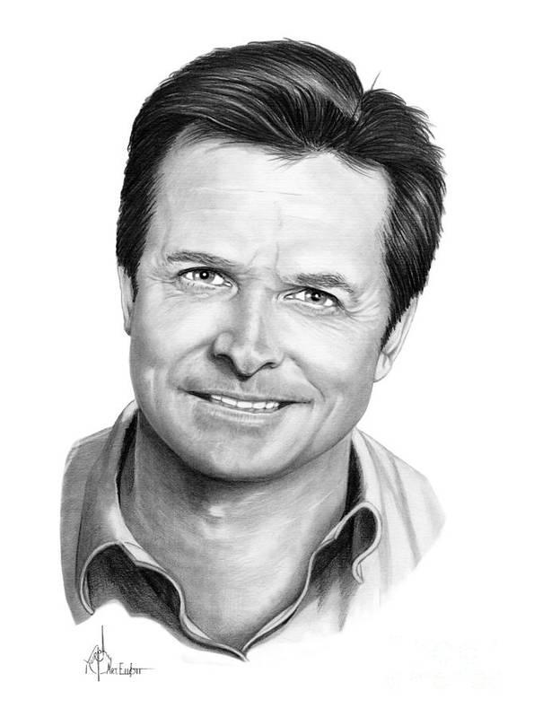 Michael J. Fox Poster featuring the drawing Michael J. Fox by Murphy Elliott