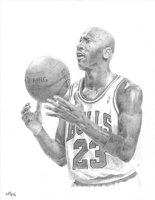 Michael Jordan Poster featuring the drawing Michael Jordan by William Pleasant