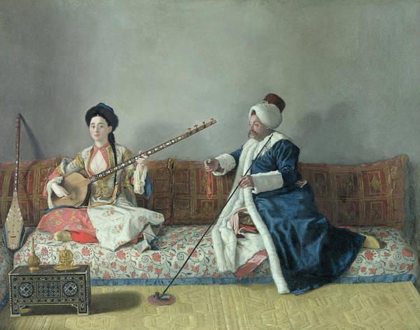 Monsieur Poster featuring the painting Monsieur Levett And Mademoiselle Helene Glavany In Turkish Costumes by Jean Etienne Liotard