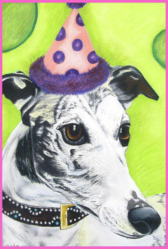 Dog Painting Poster featuring the pastel Monte by Michelle Hayden-Marsan