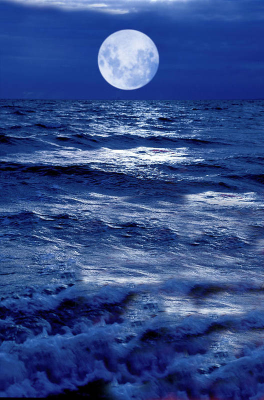Moon Poster featuring the photograph Moonlight Over The Ocean by Christian Lagereek