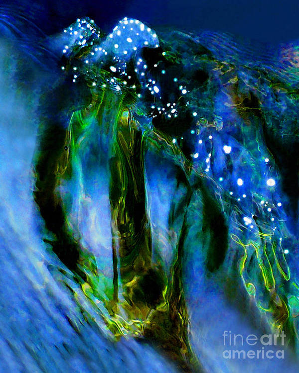 Abstract Poster featuring the photograph Moonlight Waterfall by Terril Heilman