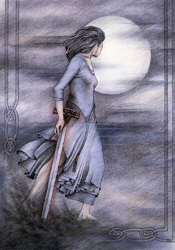 King Arthur Poster featuring the drawing Morgan Le Fay by Johanna Pieterman