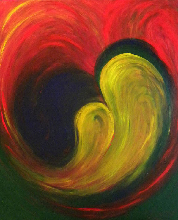 Abstract Poster featuring the painting Mother And Baby by Fanny Diaz