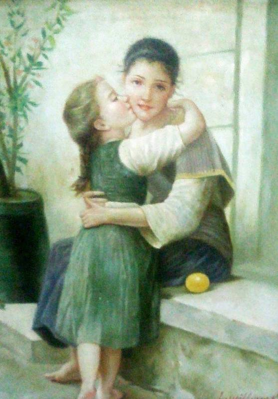 Mother Poster featuring the painting Mother And Daughter by Unique Consignment