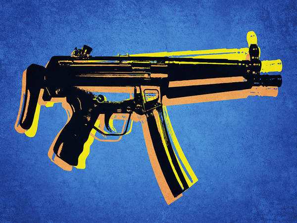 Mp5 Poster featuring the digital art Mp5 Sub Machine Gun On Blue by Michael Tompsett