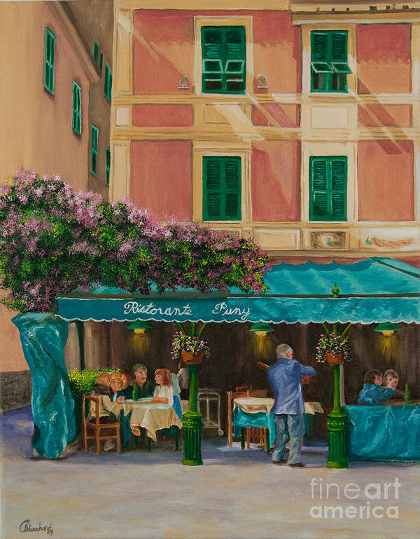 Portofino Italy Art Poster featuring the painting Musicians' Stroll In Portofino by Charlotte Blanchard