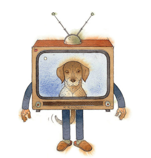 Tv Televoision Dog Poster featuring the painting My Telly02 by Kestutis Kasparavicius