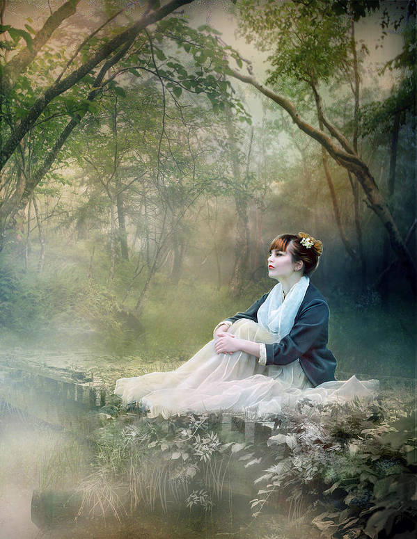 Mist Poster featuring the digital art Mystic Contemplation by Mary Hood