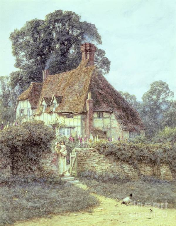 Cottage; Mother And Child; Gate; Rural Scene; Country; Countryside; Home; Path; Garden; Wildflowers; Chicken; Roses; Picturesque; Idyllic; Daughter; Timber Frame; Half-timbered; House; Female Poster featuring the painting Near Witley Surrey by Helen Allingham
