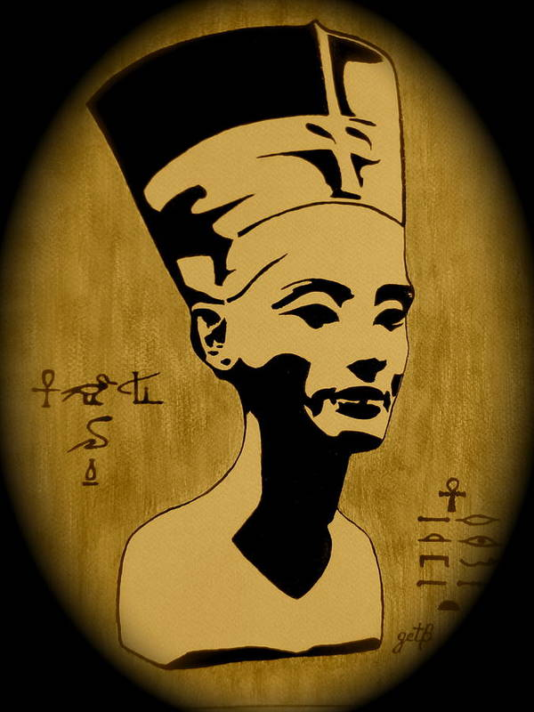 Nefertiti Egyptian Woman Poster featuring the painting Nefertiti Egyptian Queen by Georgeta Blanaru