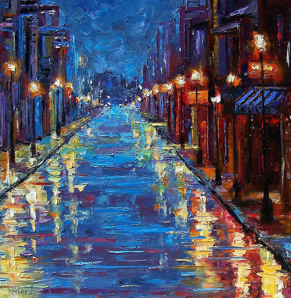 Cityscape Poster featuring the painting New Orleans Bourbon Street by Debra Hurd