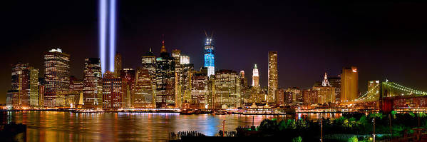 New York City Skyline At Night Poster featuring the photograph New York City Tribute In Lights And Lower Manhattan At Night Nyc by Jon Holiday
