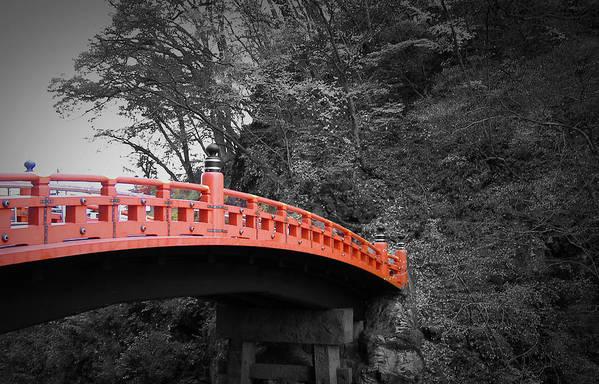 Nikko Poster featuring the photograph Nikko Red Bridge by Naxart Studio