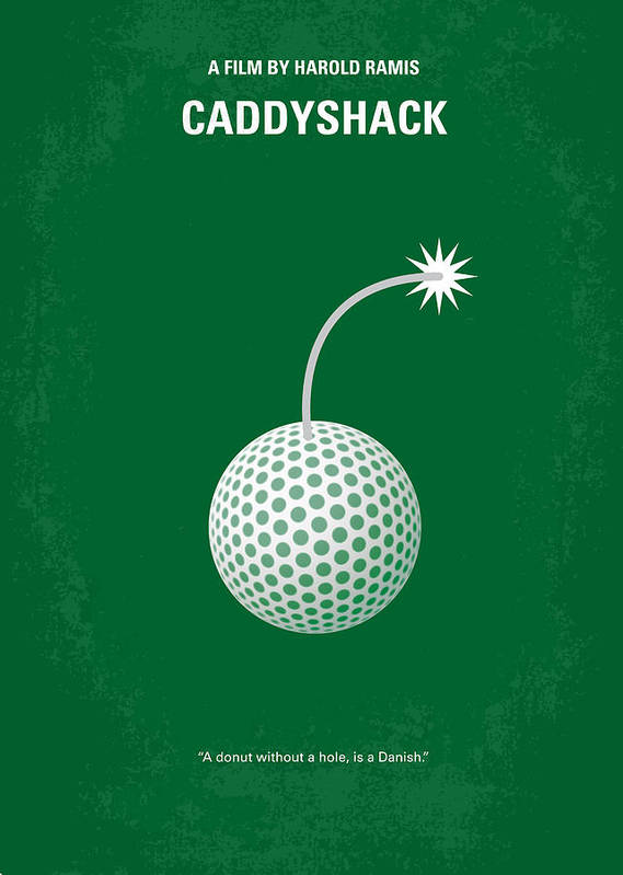 Caddyshack Poster featuring the digital art No013 My Caddy Shack Minimal Movie Poster by Chungkong Art