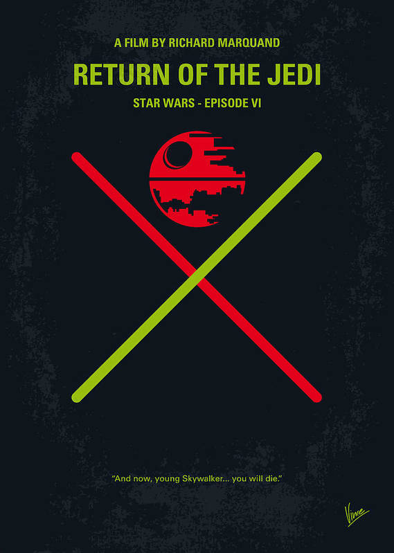 Star Poster featuring the digital art No156 My Star Wars Episode Vi Return Of The Jedi Minimal Movie Poster by Chungkong Art