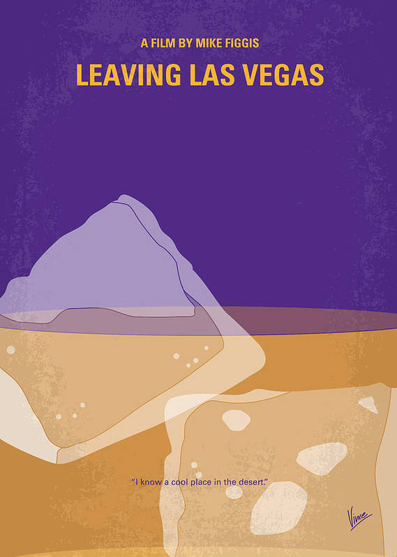 Leaving Poster featuring the digital art No180 My Leaving Las Vegas Minimal Movie Poster by Chungkong Art
