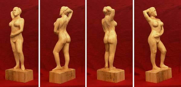 Nude Poster featuring the sculpture Nude Female Impressionistic Wood Sculpture Donna by Mike Burton