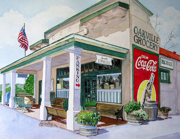 Cityscape Poster featuring the painting Oakville Grocery by Gail Chandler
