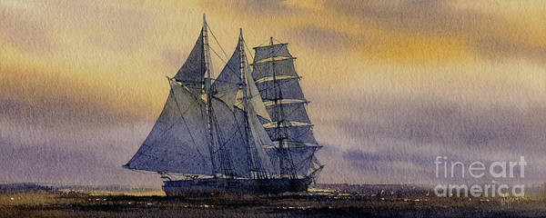 Sailing Vessel Print Poster featuring the painting Ocean Dawn by James Williamson