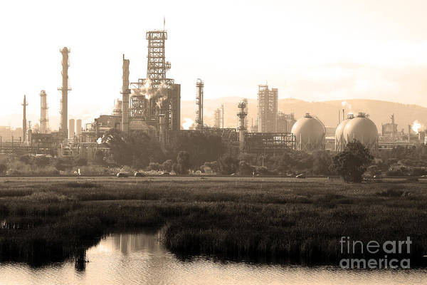 Black And White Poster featuring the photograph Oil Refinery Industrial Plant In Martinez California . 7d10364 . Sepia by Wingsdomain Art and Photography