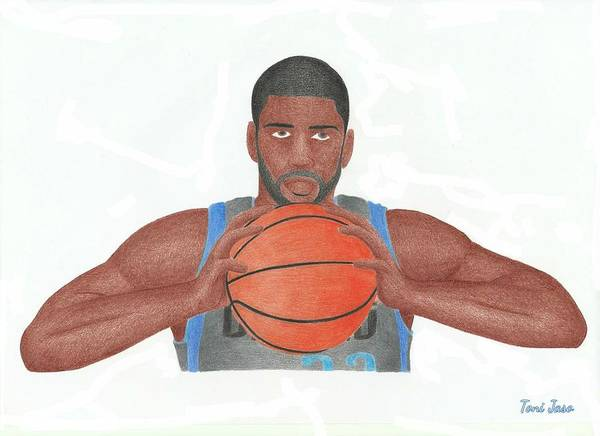 Basketball Poster featuring the drawing O.j Mayo by Toni Jaso