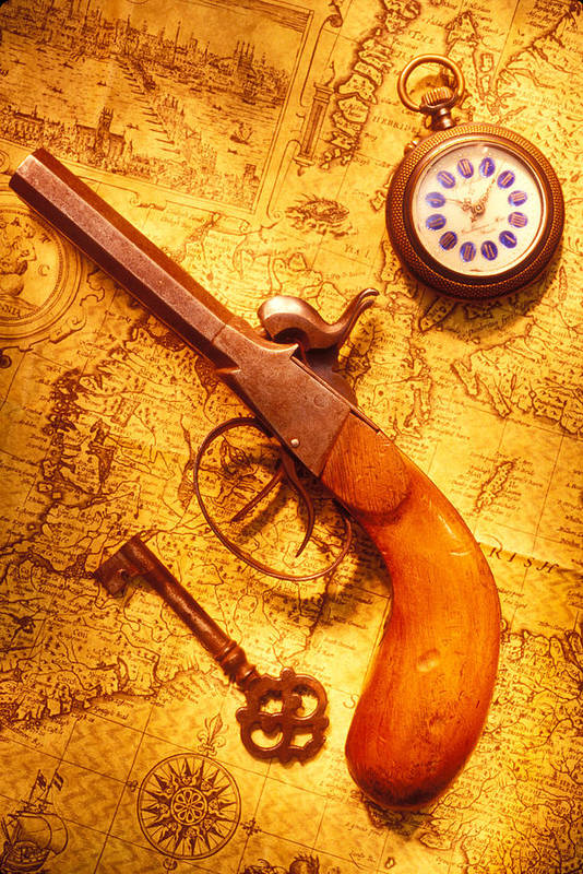 Old Poster featuring the photograph Old Gun On Old Map by Garry Gay