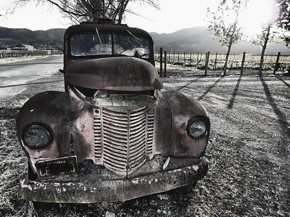 Abandoned Poster featuring the photograph Old Truck In Napa Valley by George Oze
