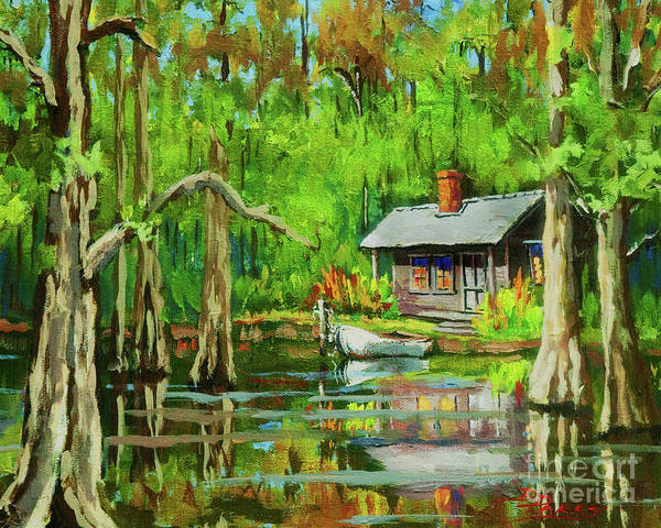 Bayou Poster featuring the painting On The Bayou by Dianne Parks