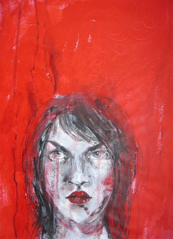 Face Poster featuring the painting Out Of Balance by Brigitte Hintner