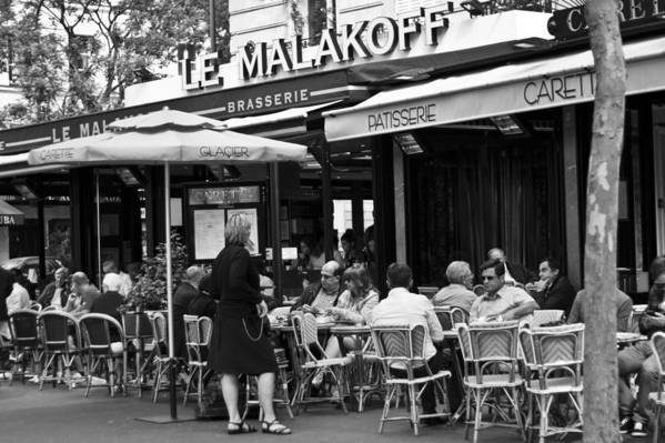 Bar Poster featuring the photograph Paris Street Cafe - Le Malakoff by Georgia Fowler