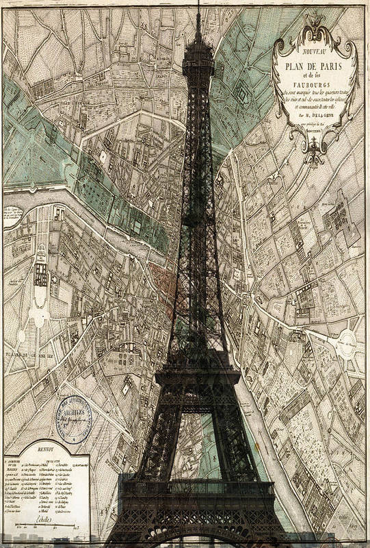 Paris Poster featuring the photograph Paris Vintage Map And Eiffel Tower by Georgia Fowler