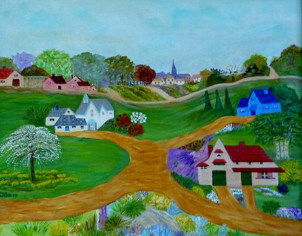 Anke Wheeler Poster featuring the painting Peaceful Country Lanes by Anke Wheeler