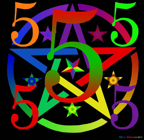 Pentacle Poster featuring the digital art Penta Pentacle In Black by Eric Edelman