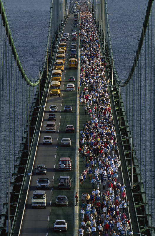 Mackinac Bridge Poster featuring the photograph People Participating In The Annual by Phil Schermeister