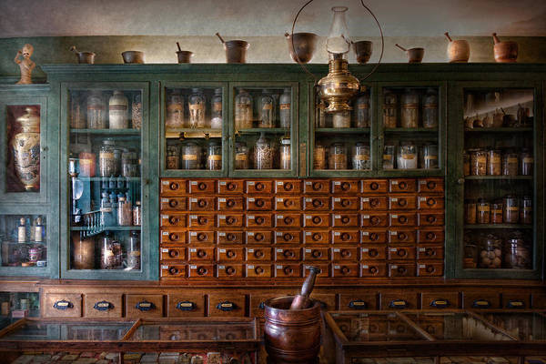 Doctor Poster featuring the photograph Pharmacy - Right Behind The Counter by Mike Savad