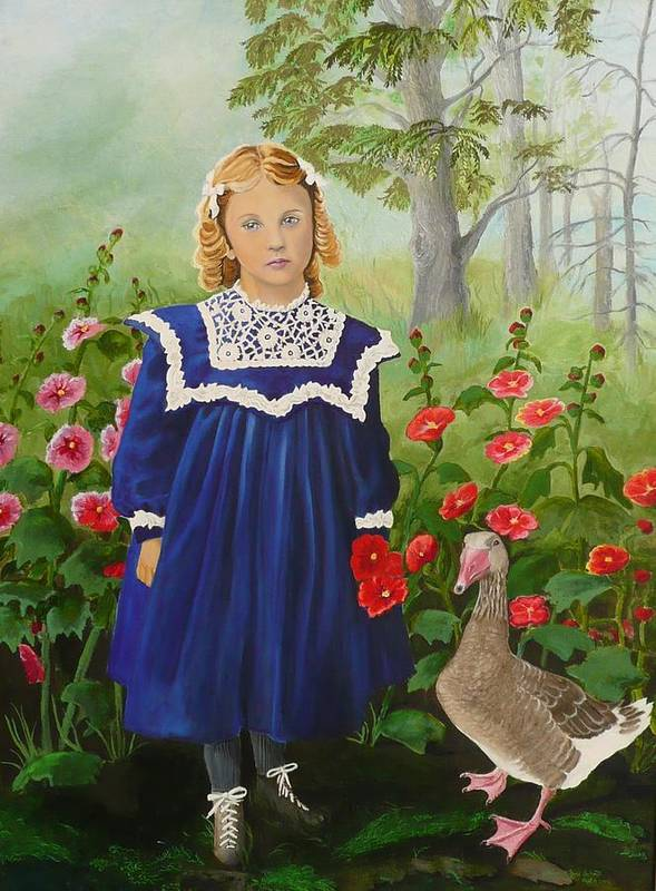 Girl Poster featuring the painting Picking Flowers by Virginia Sincler