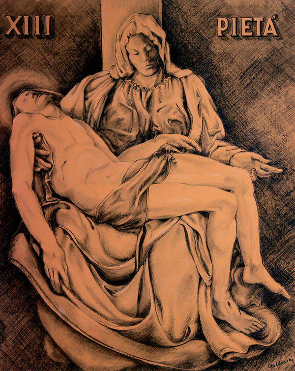 Pieta Poster featuring the drawing Pieta Study by Hanne Lore Koehler