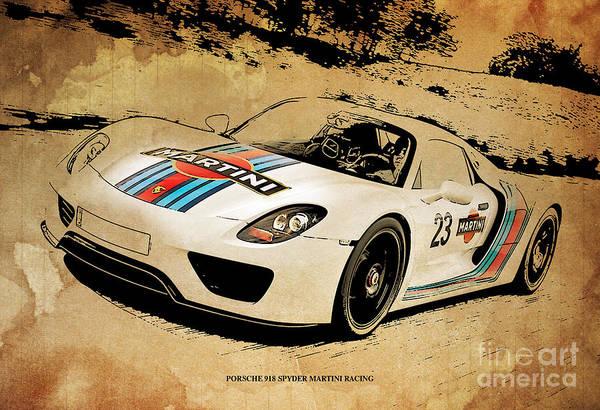 porsche 918 spyder martini racing poster by pablo franchi. Black Bedroom Furniture Sets. Home Design Ideas